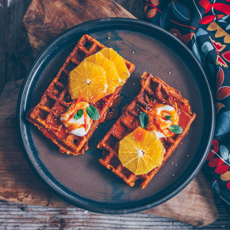 Crispy and healthy orange-carrot waffles