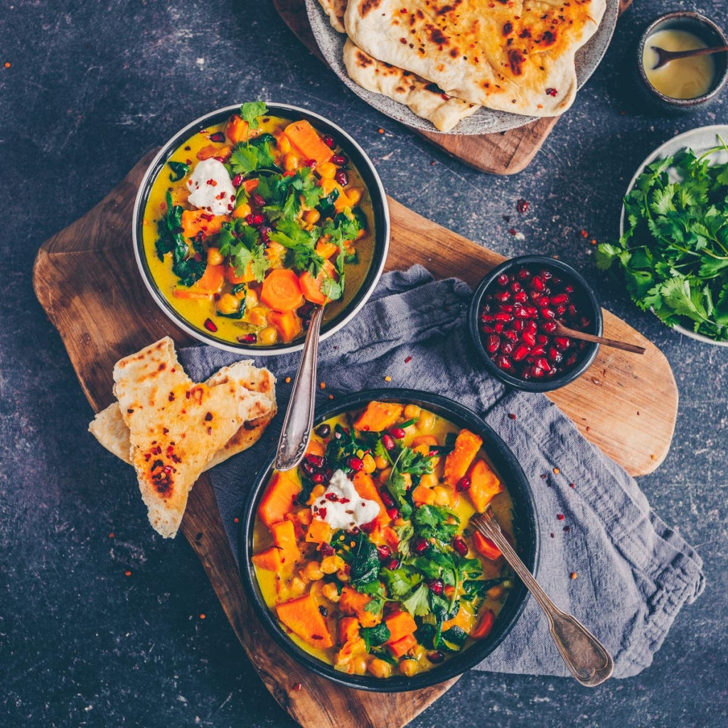 Sweet potato curry with chili naan