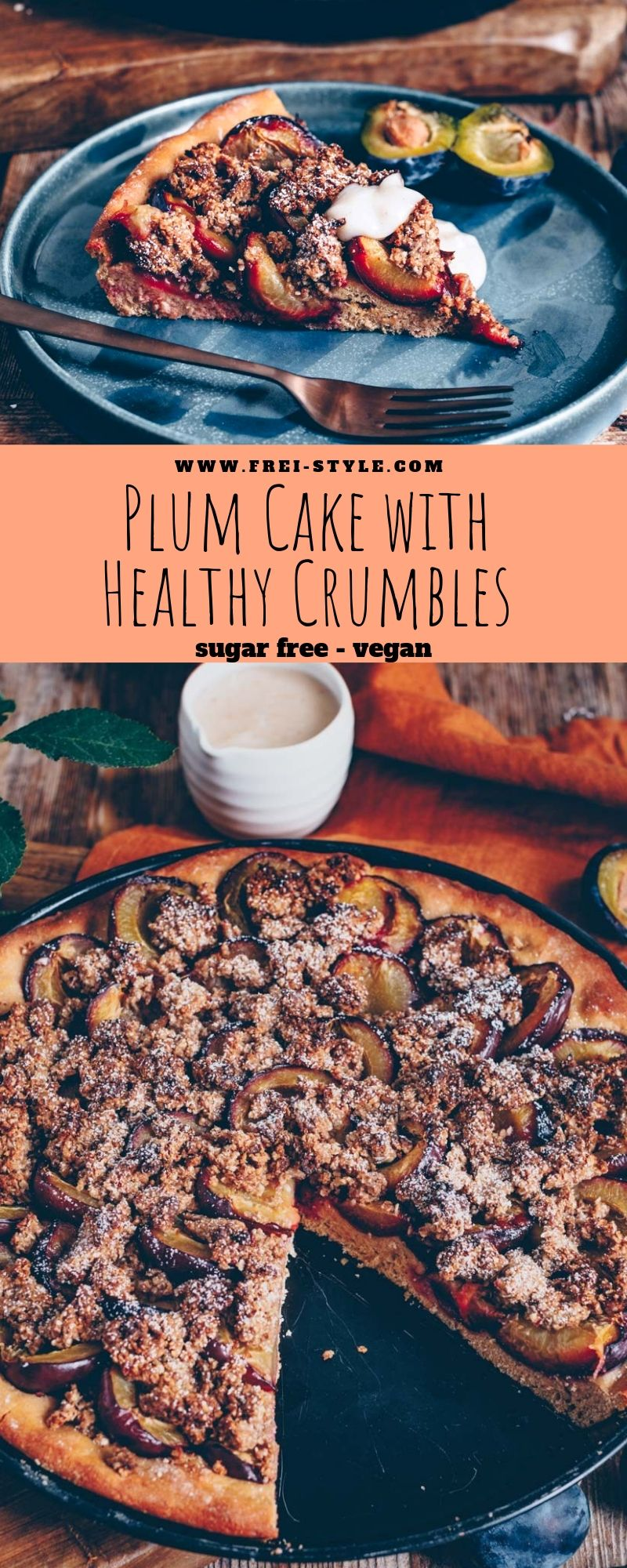 Plum cake with healthy crumbles