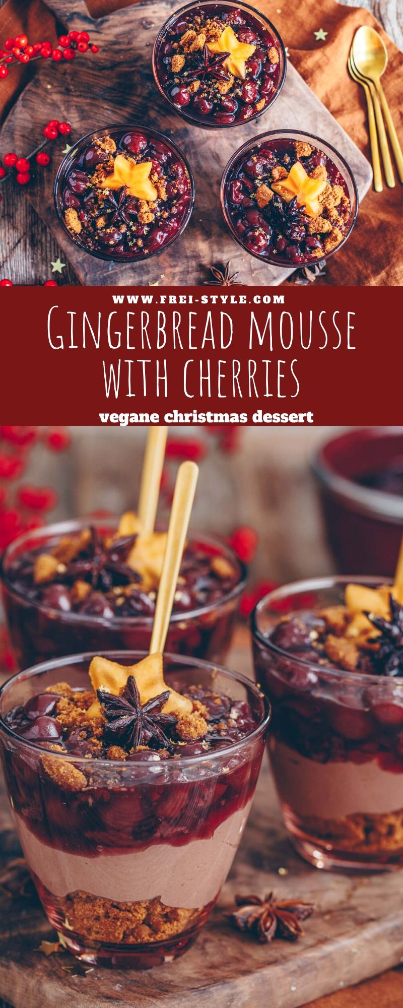 Christmas dessert: Gingerbread mousse with cherries