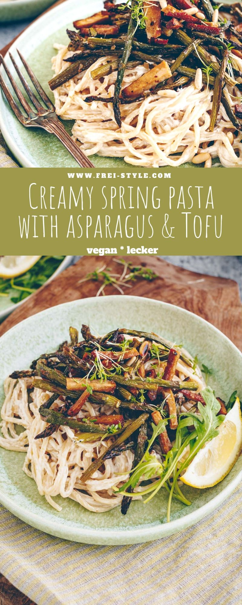 Creamy spring pasta with asparagus and tofu